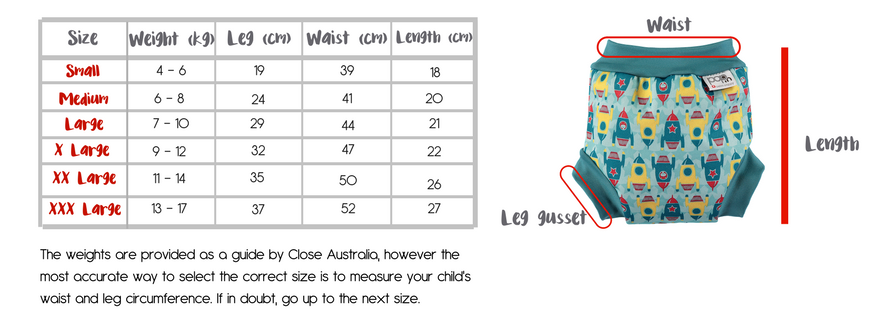close parent pop in swim nappy size chart