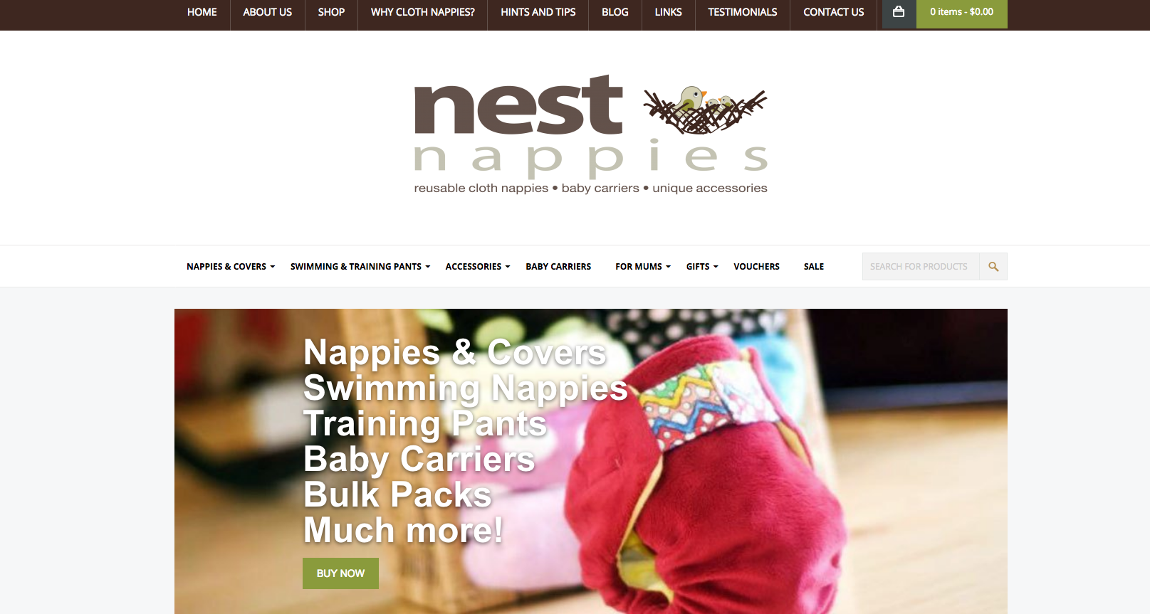 nest nappies new website