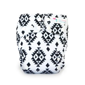 econaps cloth nappy aztec black
