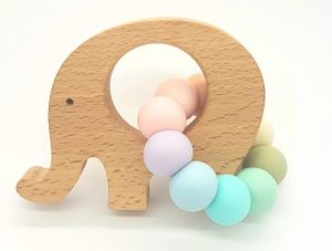 tiny moons elephant teether pastel rainbow