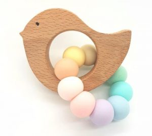 tiny moons little bird teether pastel rainbow