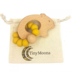 tiny moons wombat teether mustard
