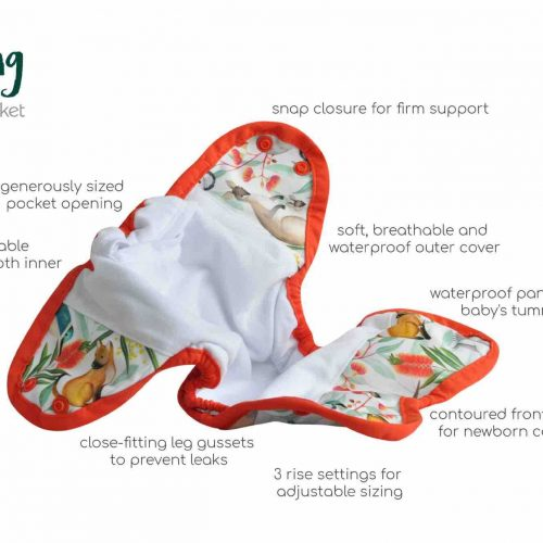 seedling baby mini fit pocket nappy features